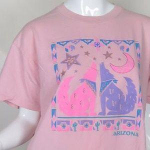 Tops - 90s Pink Arizona Howling Wolf Shirt Coyote Shirt